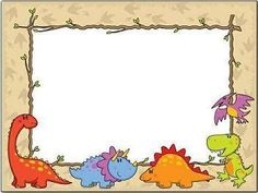 Pictures of past! Dinosaur Printables, Dinosaur Activities, Dinosaur Crafts, Borders For Paper, Borders And Frames, Name Tag For School, 2 Kind, Cute Frames, Birthday Frames