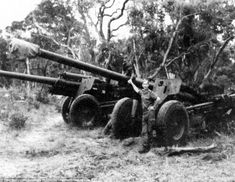 Commander of 20 SA Brigade Colonel P.S Fouche is pictured with two M-46 Russian artillery ...