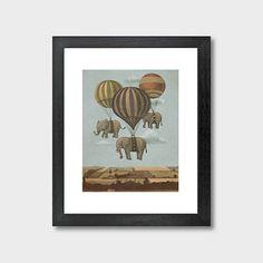 High Flying Elephants Art Print
