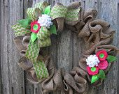 Items similar to Chevron Grey, Turquoise, and Hot Pink Monogram Wreaths on Etsy
