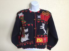 Dry Cleaned Christmas Cat Sweater by davincoffey on Etsy