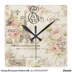 vintage floral paris fashion eiffel tower square wall clocks design by CHICELEGANT