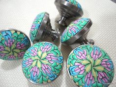 CABINET KNOBS Beautiful Pastel Color Clay/Metal Order up to....24