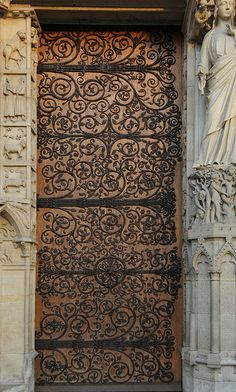 One of the front doors to Notre Dame Cathedral, Paris, France.