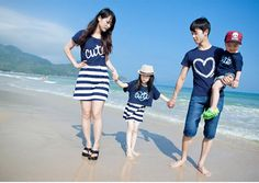 2015 Family Set Striped Parent-Child set clothes for father and son one-piece dress for mother and daughter cotton clothes, Matching Christmas Outfits, Matching Family Outfits, Dress Outfits, Kids Outfits, Fashion Outfits, Dresses, Women's Fashion, Family Clothing Sets, Family Set