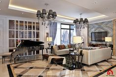 Classic Luxury Living Room, Ho Chi Minh City, Vietnam. Designed by Gil Design. Gildesign.vn