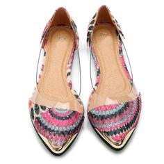 Aliexpress.com: Comprar Pavo real del estilo de Bohemia patrón Señaló zapatos planos zapatos de Las Mujeres transparentes Talones Planos cómodos Zapatos de Purpurina Oro Plata Mujer de zapatos de las mujeres pies de ancho fiable proveedores en Sisters shoes and bag shop