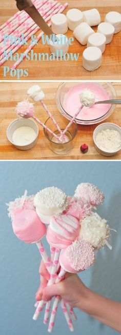 Marshmallow Pops - Cute ideas for baby shower - Cupcakepedia | #traktatietip met spekjes, chocolade en gekleurde rietjes.