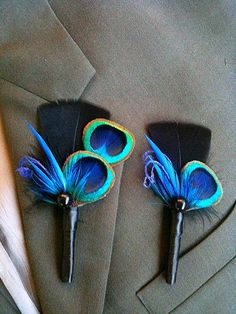 Reserved for Reina Fabulous Peacock Boutonniere Package-