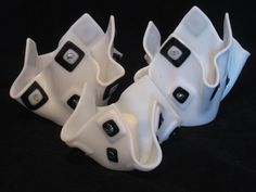 Set of Beautiful White and Black  Fused Glass Vase and by Mellyns, $67.00