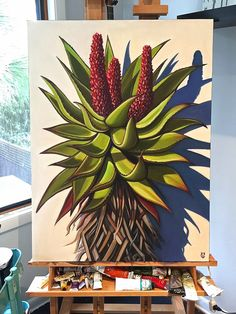 My new Aloe painting-Carin Vaughn-Girl With A Surfboard