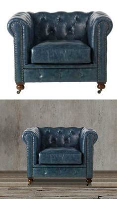 With classic lines and a gorgeous tufted back, this chesterfield tufted blue leather chair offers a cozy, elegant look. Finished with decorative nailhead trim that adds the perfect finishing touch, the classic style of this tufted chair fits any home style.