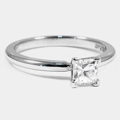 Platinum 2mm Comfort Fit Ring // Set with a 0.55 Carat, Princess, Ideal Cut, D Color, VVS2 Clarity Diamond #BrilliantEarth