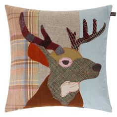 Sewing Pillows Buy the Stag Cushion - from Carola van Dyke at Amara. Free Delivery - Make a bold statement with this Stag cushion from Carola van Dyke. Full of character, it's been crafted from a mix of precisely cut vintage Applique Cushions, Sewing Pillows, Handmade Pillows, Handmade Home Decor, Easy Sewing Projects, Sewing Crafts, Sewing Ideas, Stag Cushion, Stag Design