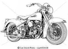 Stock Illustration - Vintage V-twin Motorcycle - stock illustration, royalty free illustrations, stock clip art icon, stock clipart icons, logo, line art, pictures, graphic, graphics, drawing, drawings, artwork