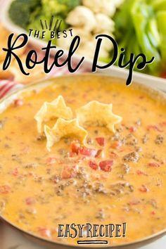 bowl of Rotel Dip with tortillas and veggies Dip Recipes, Mexican Food Recipes, Crockpot Recipes, Cooking Recipes, Mexican Meals, What's Cooking, Rotel Dip, Nacho Dip, Beef Nachos