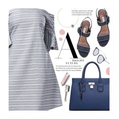 """""""Show Some Shoulder: Striped Dress"""" by beebeely-look ❤ liked on Polyvore featuring Tabitha Simmons, mizuki, Deborah Lippmann, Burberry, StreetStyle, stripes, under100, twinkledeals and showsomeshoulder"""