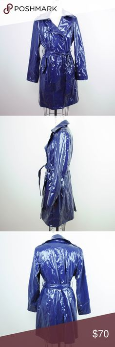 Via Spiga Trench Coat Rain Shiny Wet Look Via Spiga Womens Trench Rain Coat Jacket Sz M Blue Shiny Wet Look Belted  Description - Rip in the lining at the armhole  Material: 72% polyester, 28% polyeurethane Size: M  Measurements (in inches):  Shoulder: 16 Armpit-to-armpit: 18.5 Waist: 17 Length: 37 Sleeve: 24 **All our products come from a clean and smoke-free household.** Via Spiga Jackets & Coats Trench Coats