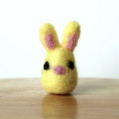 Needle Felted Yellow Easter Bunny Rabbit Miniature Soft Handmade Art Figure by Karen Watkins kmwatkins https://www.etsy.com/listing/223676942/needle-felted-yellow-bunny-rabbit?ref=listings_manager_grid