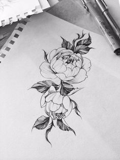 Image result for peony tattoo calf
