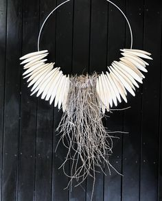 🌟Tante S!fr@ loves this📌🌟Loving this new piece, just finished today. Palm husk and cuttlefish bone on wire frame. Works so well against a dark back drop! Contemporary Baskets, Cuttlefish, Painted Driftwood, Bone Crafts, Found Object Art, Wall Crosses, Beach Crafts, Baskets On Wall, Wall Sculptures
