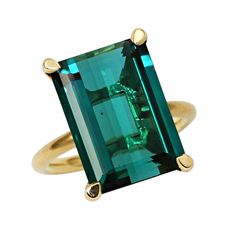 Blue Tourmaline Gold Ring | From a unique collection of vintage cocktail rings at https://www.1stdibs.com/jewelry/rings/cocktail-rings/A beautiful rectangular emerald-cut natural blue tourmaline set in 18kt yellow gold. The tourmaline weighs 12.77 carats and accompanies a gemological report,