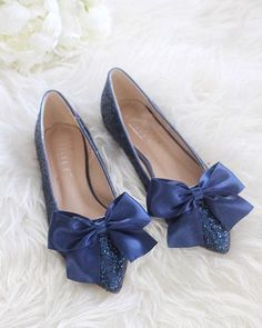 Women Glitter Shoes Navy Pointy Toe Rock Flats With Satin Bow