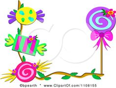 Free Music Clip Art Borders | Clipart Border Of Candies And A Loli Pop - Royalty Free Vector ...