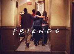 friends. the best show ever. what a cute photo of them the last episode the last time together