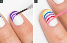 How to Do a Rainbow French Manicure With Yourself Using Top Coat