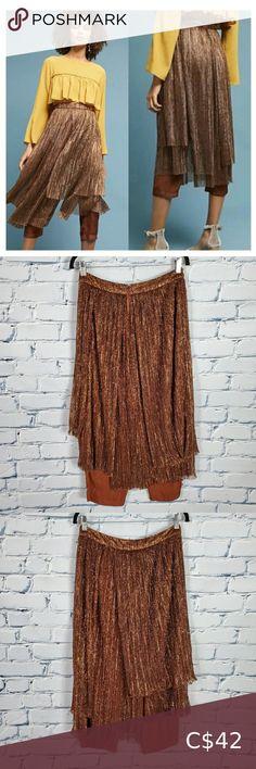 Check out this listing I just found on Poshmark: Maeve Bronze Metallic Skirt Pants. #shopmycloset #poshmark #shopping #style #pinitforlater #Anthropologie #Pants Silk Romper, Ruffle Jumpsuit, Jumpsuit With Sleeves, Boho Pants, Skirt Pants, Wide Leg Trousers, Wide Leg Jeans, Metallic Skirt, Grey Skinny Jeans