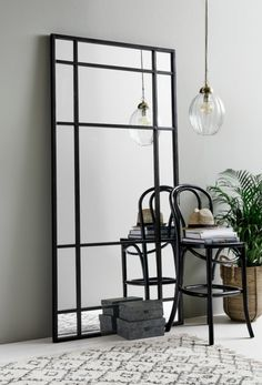 Black Iron Floor Standing Mirror High This large black iron mirror looks stunning just propped up against a wall. White Wall Mirrors, Rustic Wall Mirrors, Window Mirror, Hallway Mirror, Black Framed Mirror, Large Black Mirror, Black Floor Mirror, Mirror Shelves, Long Mirror