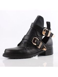 Metal clasp and hollow round toe shoes  Choies.com  I'd do terrible things for these shoes.