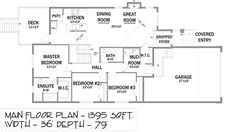 First Floor Plan of Bungalow   House Plan 81131