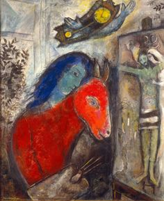 Marc Chagall, Self-Portrait with Clock (oil on canvas), 1947.
