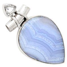 Blue Lace Agate 925 Sterling Silver Pendant Jewelry 8276P - JJDesignerJewelry