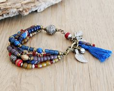 lucky elephant boho bracelet colorful jewelry ethnic by OmSaha