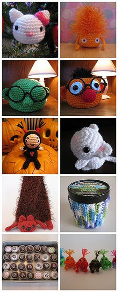 Various free patterns! - Muppet eyeglass holders, chocolates, a pint ice cream holder, a scarf, and more! Cute Crochet, Crochet Crafts, Crochet Dolls, Yarn Crafts, Yarn Projects, Knitting Projects, Crochet Projects, Amigurumi Patterns, Knitting Patterns