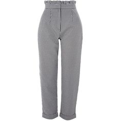 Topshop Gingham Mensy Ruffle Waist Trousers ($47) ❤ liked on Polyvore featuring pants, bottoms, monochrome, high-waisted pants, frilly pants, ruffle trousers, topshop trousers and patterned trousers