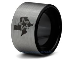 Dallas Cowboys Black Tungsten Wedding Band Ring Mens Womens Brushed Pipe Cut NFL Sports Fan Texas Anniversary ALL Custom Sizes Available