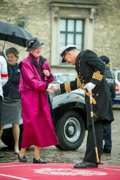 Danish HM Queen Margrethe boarding the royal yacht Dannebrog with their two dachshunds Helike and Querida on their way to Elsinore. Copenhagen, 07.05.2014.