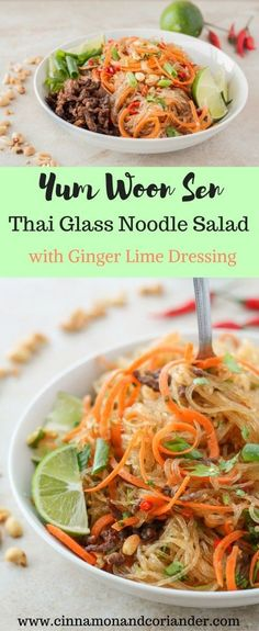 Yum Woon Sen -Thai Glass Noodle Salad with Ginger Lime Dressing. Yum Woon Sen is a refreshing Thai Glass Noodle Salad with gluten free mung bean noodles, fresh chopped vegetables, herbs and a zingy Ginger Lime Dressing. Fans of Thai Cuisine will love this quick and healthy recipe!