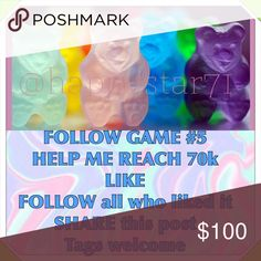 FOLLOW GAME Second picture is for my Secret Posher Game, not the regular follow game. This other one gets you faster results. To learn more visit my closet and look for this Game😉👁👁🏆🥇 follow game Accessories