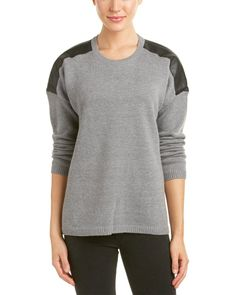 Bcbgmaxazria Womens Talitha Wool-Blend Sweater, Xs, Grey. Color/pattern: heather grey. Approximately 27in from shoulder to hem. Measurement was taken from a size small and may vary slightly by size. Design details: faux leather shoulder patches, dropped-shoulder sleeves, ribbed knit trim. 54% merino wool, 38% nylon, 8% alpaca.