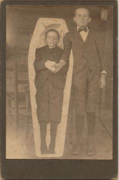 Macabre Body in Coffin Young Boy Funeral Photo Brother Holds Hand | eBay