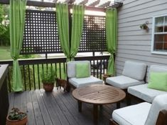 30 Amazing backyard patio deck design ideas - Page 7 of 32 Outdoor Rooms, Outdoor Living, Outdoor Furniture Sets, Outdoor Decor, Outdoor Curtains, Outdoor Parties, Privacy Curtains, Porch Curtains, Green Curtains