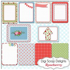Roseberry Project Life Inspired Journal by DigiScrapDelights,#red #pink #green pocket cards