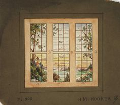 Landscape Scene Stained Glass Window Design From H.M. Hooker Co, Chicago