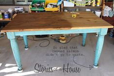 Turquoise, weathered and distressed kitchen table.