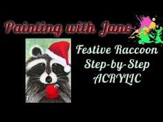 Festive Raccoon Step by Step Acrylic Painting on Canvas for Beginners Simple Acrylic Paintings, Acrylic Painting Canvas, Diy Painting, Canvas Art, Easy Art Lessons, Winter Painting, Creative Video, Step By Step Painting, Painting Videos